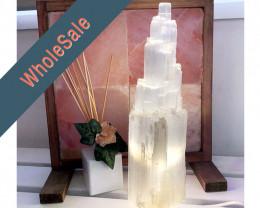 35-40cm Selenite Tower Lamp x4 - Wholesale
