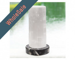 4x Selenite Lamp with Ancient Fossil Orthoceras Base 20cm - Wholesale