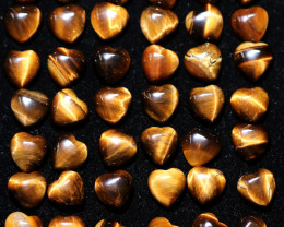 50 Lovers Heart Shape  10 mm Tiger Eye   Gemstone    AHA 471