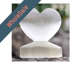 8 x Selenite Large Heart Shape - Wholesale