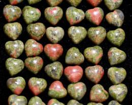 50 Lovers Heart Shape  10 mm Unakite   Gemstone    AHA 475