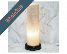 4x Selenite Lamp with Ancient Fossil Orthoceras Base 30cm - Wholesale