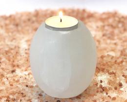 Tube Selenite Tealight Candle Holder