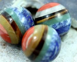 THREE Chakra 7 natural Gemstone Sphere shape AHA 522