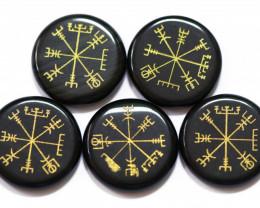 5 BLACK jade  Reiki Healing stones in pouch AHA 547