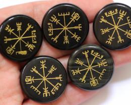5 BLACK jade  Reiki Healing stones in pouch AHA 548