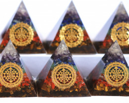 WHOLESALE  6  Seven Chakra Gemstone 6cm Orgone  Pyramid AHA 549