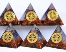 WHOLESALE  6  Seven Chakra Gemstone 4cm Orgonite  Pyramid AHA 556