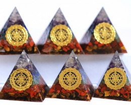 WHOLESALE  6  Seven Chakra Gemstone 4cm Orgonite  Pyramid AHA 555