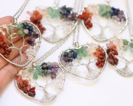 WHOLESALE  6  Colourful 7 chakra Gemstones, Handmade Tree Of life AHA 567