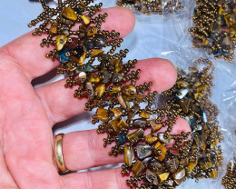 Six Tiger eye  Stone adjustable Bracelet  AHA 579