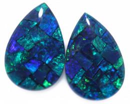 3.7 Cts Pair Australian Blue Pear Drop Opal Triplet Mosaic  FO 1409