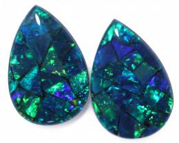 3.7 Cts Pair Australian Green Pear Drop Opal Triplet Mosaic  FO 1413