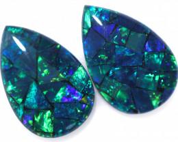 3.7 Cts Pair Australian Green Pear Drop Opal Triplet Mosaic  FO 1414
