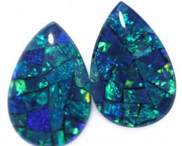 3.7 Cts Pair Australian Green Pear Drop Opal Triplet Mosaic  FO 1418