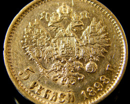 RUSSIA 1898 5 ROUBLES .9170 Finess  GOLD COIN CO 148