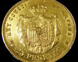.9000 Finess GOLD COIN SPAIN 25 PESTAS 1880 CO133
