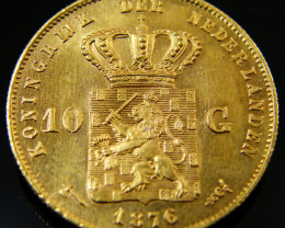 .900 Finess NETHERLANDS 10 GUILDERS GOLD COIN 1876 Co 160