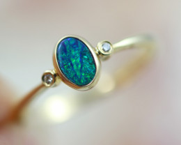 Doublet Opal set in14 k Yellow Gold Ring  Size N   CK  617