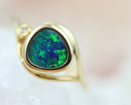 Doublet Opal set in14 k Yellow Gold Ring Size N    CK 618