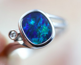 Doublet Opal set in14 k White Gold Ring Size N   CK 619