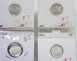 Four  Mix PRE 1946 silver Three Pence  coins    code Co2353