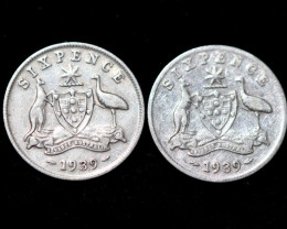ONE Australian Sixpence 1939  .925 silver  ONE  only CC 1020