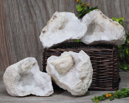 Natural Calcite Geode Pair – 2 Small Geodes Set N445