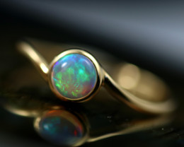 Crystal Opal set in18k Yellow Gold Ring Size N CK 655