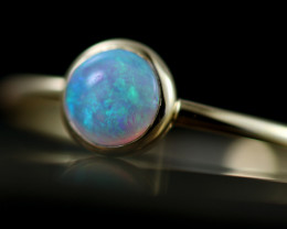 Crystal Opal set in 18k Yellow Gold Ring Size L  CK 657