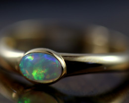 Crystal Opal set in14 k Yellow Gold Ring Size N CK 658