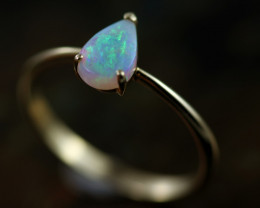 Crystal Opal set in14 k Yellow Gold Ring Size N CK 660