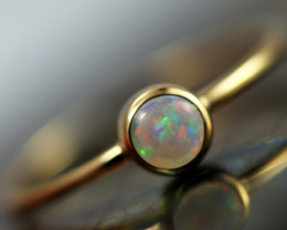 Crystal Opal set in18k Yellow Gold Ring Size L CK 692