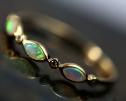 Crystal Opal set in18k Yellow Gold Ring Size L   CK 694