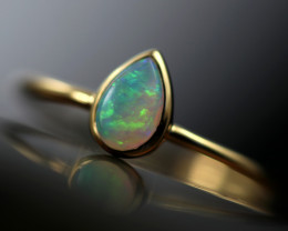Crystal Opal set in18 k Yellow Gold Ring Size L CK 699