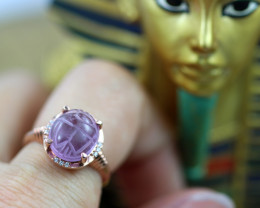 Egyptian Collection-Amethyst Scarab silver Ring Copper Plated size L CK 701