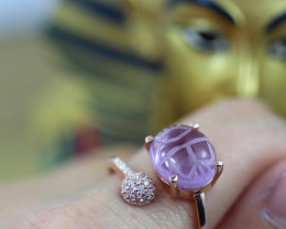 Egyptian Collection-Amethyst Scarab Silver Ring Copper Plated size L CK 702