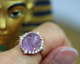 Egyptian Collection-Amethyst Scarab Silver Ring Copper Plated size L CK 703