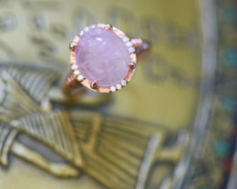 Egyptian Rose Quartz Scarab silver Ring Copper plated size L CK 716