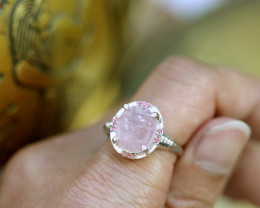 Egyptian Collection Rose Quartz Scarab silver Ring size L CK 710
