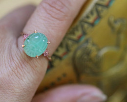 Egyptian Chrysoprase Scarab silver Ring Copper plated size L CK 719