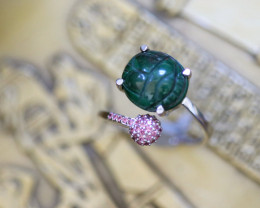 Egyptian Collection Chrysocolla Scarab silver Ring  size L CK 734