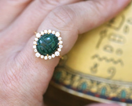 Egyptian Chrysocolla Scarab silver Ring Gold Plated size L CK 735