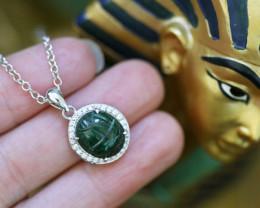 Egyptian Collection Chrysocolla Scarab silver Pendant  CK747