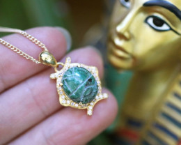 Egyptian Collection Chrysocolla Scarab silver Pendant Gold Plated CK 749