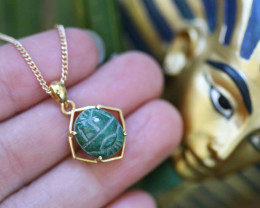 Egyptian Collection Chrysocolla Scarab silver Pendant Gold Plated CK 750