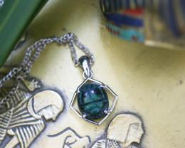 Egyptian Collection Chrysocolla Scarab silver Pendant CK 751