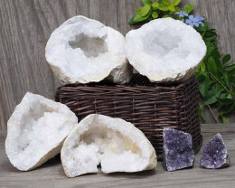 Calcite Geode Pair - 2 Small Geodes Set with Amethyst 2 Pieces DN96