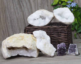Calcite Geode Pair - 2 Small Geodes Set with Amethyst 2 Pieces DN98