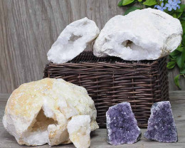Calcite Geode Pair - 2 Small Geodes Set with Amethyst 2 Pieces DN99